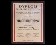 NAGRODA I STOPNIA w konkursie PZITB BUDOWA ROKU 2003 w Regionie Północno-Wschodnim, Salon Sprzedaży Samochodów MERCEDES BENZ