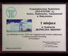 PIP, I miejsce w konkursie BEZPIECZNA BUDOWA, hala magazynowa w Porosłach