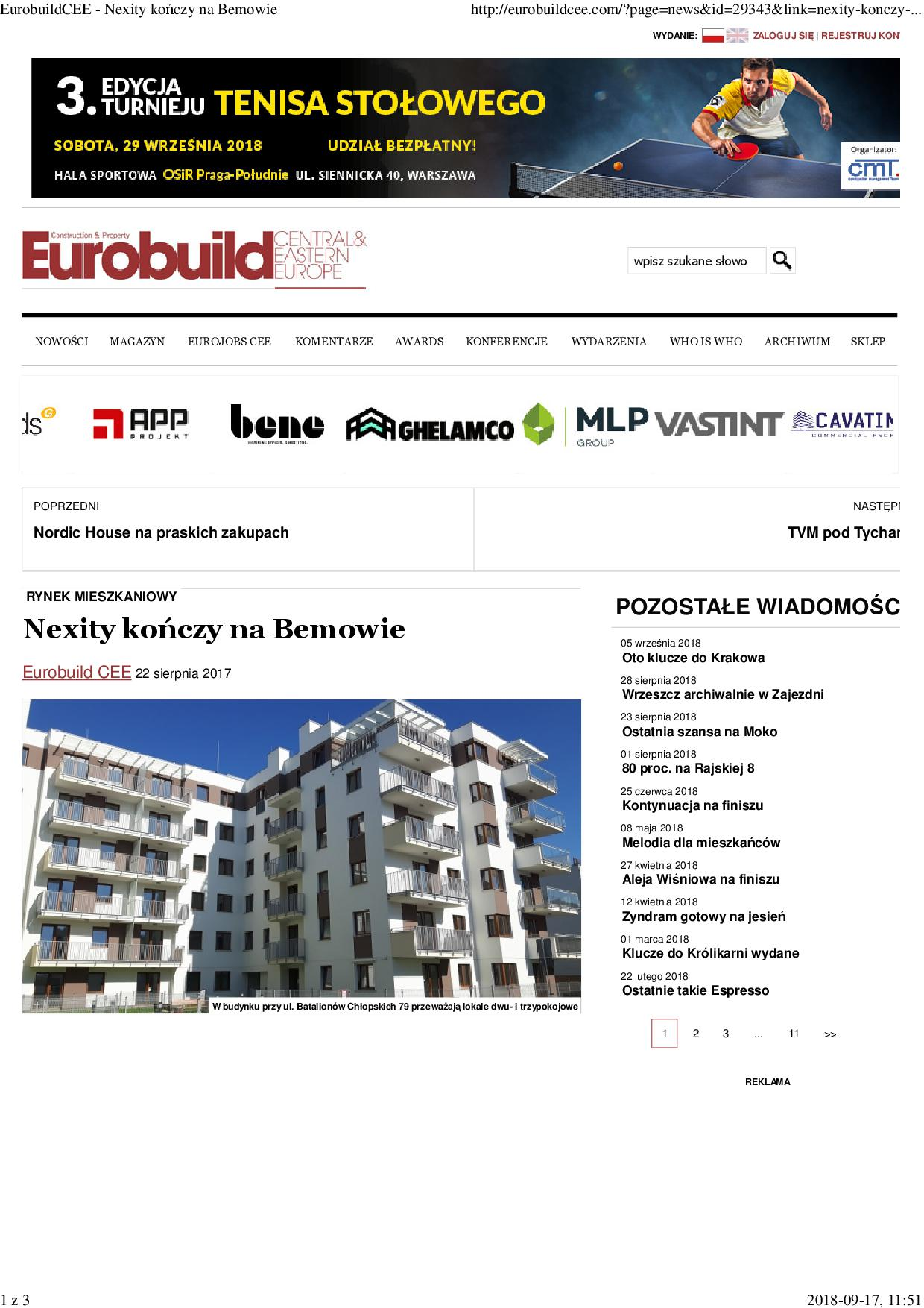 EurobuildCEE - Nexity kończy na Bemowie1